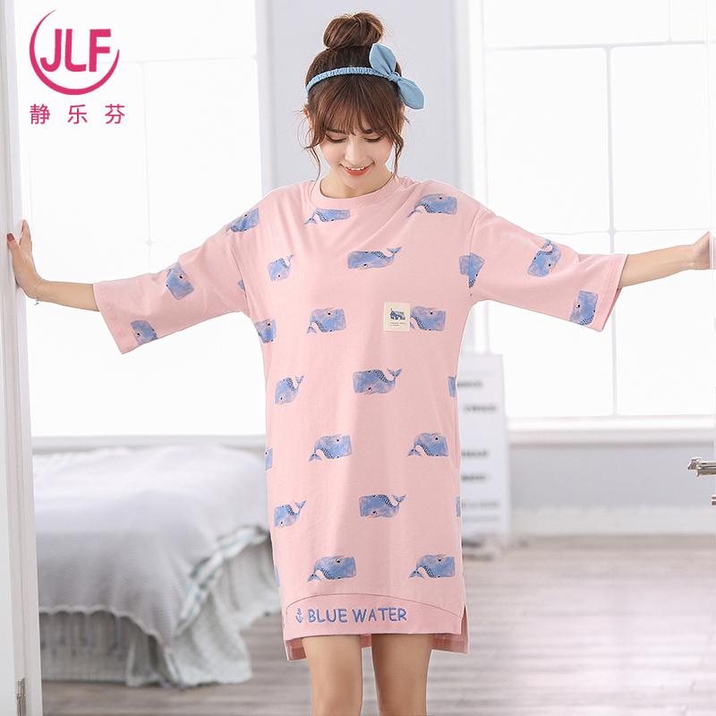 夏季女士可爱纯棉睡衣中半袖睡裙中裙宽松学生韩版少女短袖家居服
