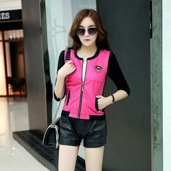 2014秋新款韩版女装百搭针织拼接皮衣女薄短款小外套开衫学生夹克