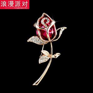 花朵時尚水晶胸針女 韓版胸花別針飾品裝飾領針配飾絲巾扣披肩扣