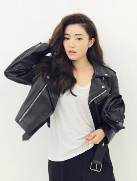STYLENANDA * толстый черный мотоцикл кожаная куртка «содержащий реальный выстрел» пятно
