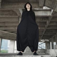 SIMPLE BLACK 暗黑风个性飞鼠造型宽松连体裤