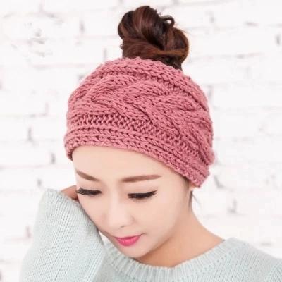 韩国针织毛线发带宽边发箍头套帽秋冬月子保暖包头巾女士洗脸发卡