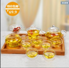 Package mail a complete set of kung fu tea tea sets/flower pot of flowers and plants/six lid bowl/sample tea cup