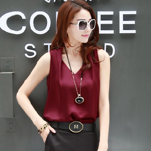 Xia Da womens sleeveless chiffon shirt V-neck Vest Shirt Short Sleeve T-Shirt loose silk satin jq-59
