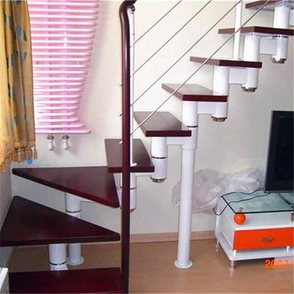 室内钢木复式家用楼梯别墅旋转整体梯子龙骨阁楼实木踏板直梯定制