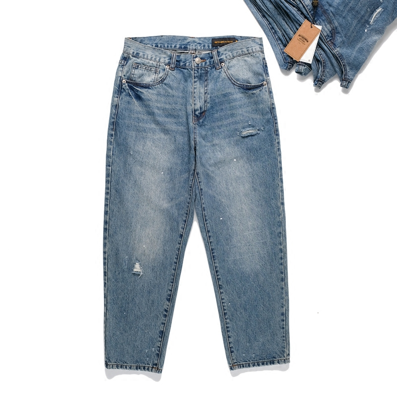 Japanese retro street fashion brand tapered loose hole worn-out jeans mens paint splashing patch casual pants