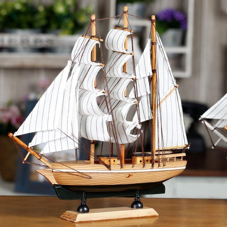 誠藝 複古歐式木質帆船家居客廳書房裝飾品擺件 店鋪拍攝擺設