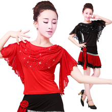 Spring, summer, new white gauze square dance clothes sequins coat middle-aged and old Latin dance big yards exactly performance costumes