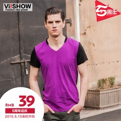 Viishow new men's short sleeve men's t-shirt color creative short v-neck t-shirts casual cotton short t shirt