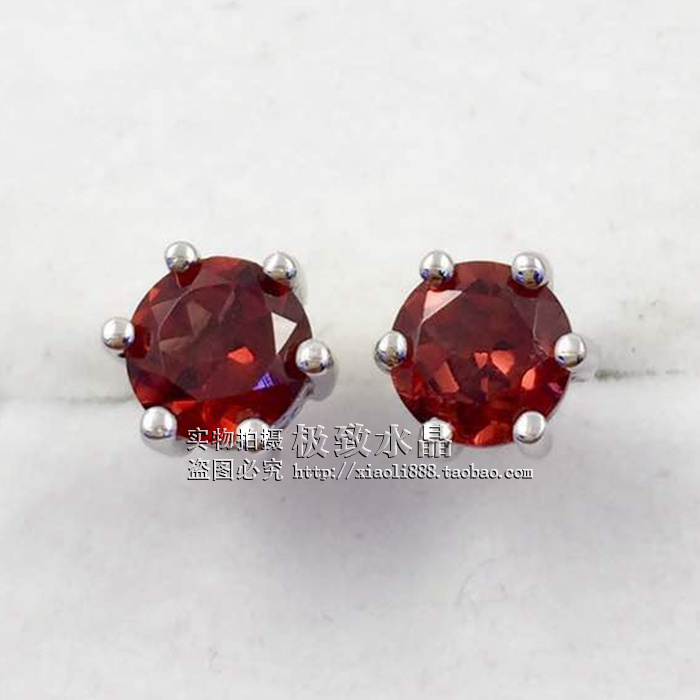Simple and fashionable 925 silver inlaid with natural garnet Topaz Crystal Amethyst olivine Earrings