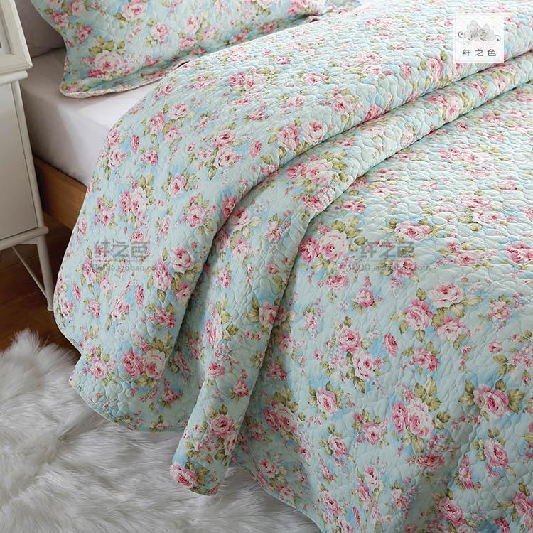 纤之色韩式床盖三件套绗缝碎花床单全棉空调被1.5米衍缝被夏凉被