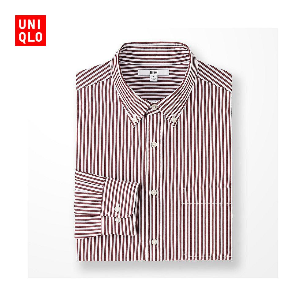 男裝 長絨棉條紋襯衫^(長袖^) 180779 優衣庫UNIQLO