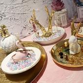 北欧陶瓷首饰架金色托盘创意摆件首饰盒项链耳环收纳架桌面收纳盒