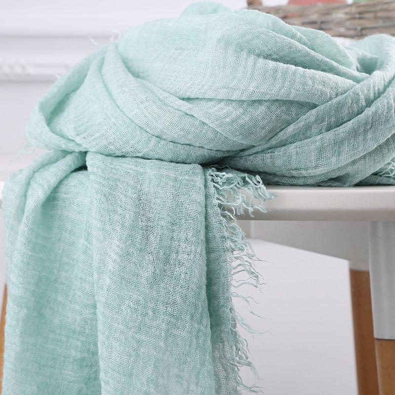 棉麻圍巾女 百搭純色超大防曬絲巾夏空調披肩文藝流蘇圍巾