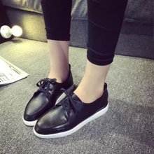 Han edition of new fund of 2015 autumn single lace-up shoes with flat round head soft leather shoes women shoes and ladies casual shoes