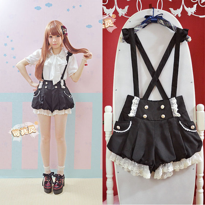Harsh non mainstream womens summer dress Japanese cute girl Lace Ruffle double breasted lantern strap short pants