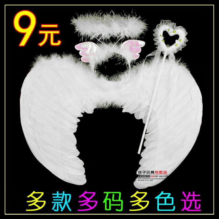 万圣节儿童表演出用品 白色天使羽毛翅膀公主头箍仙女棒花童花环