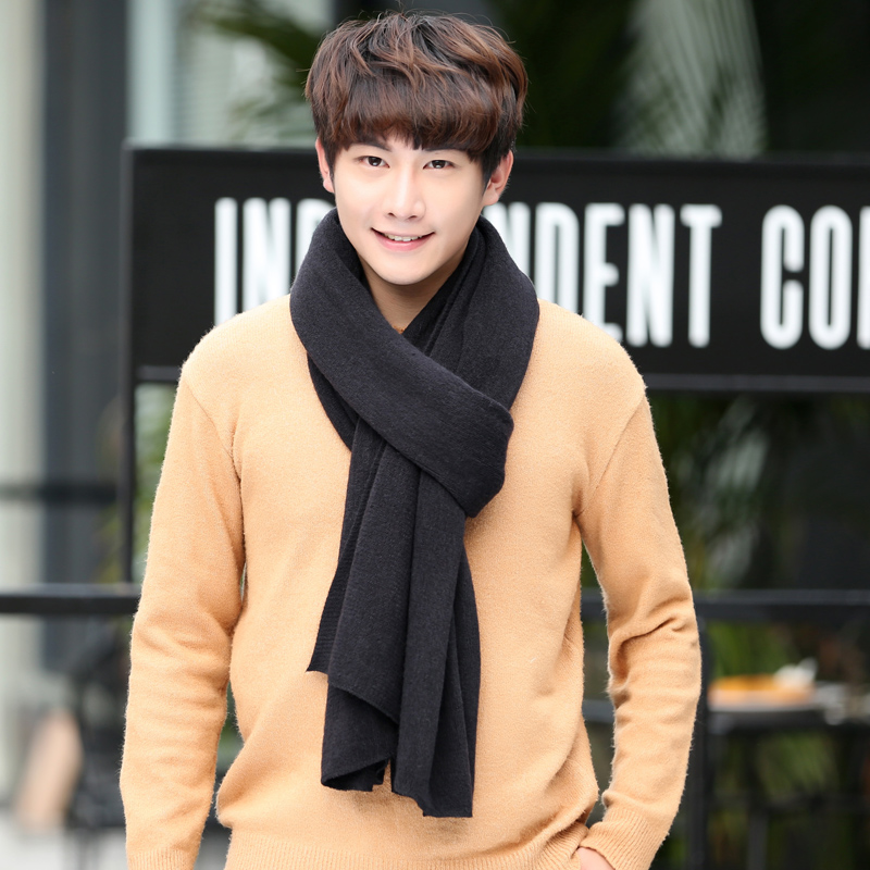 Winter Korean pure color knitting wool scarf for young men thickened long lovers for male students