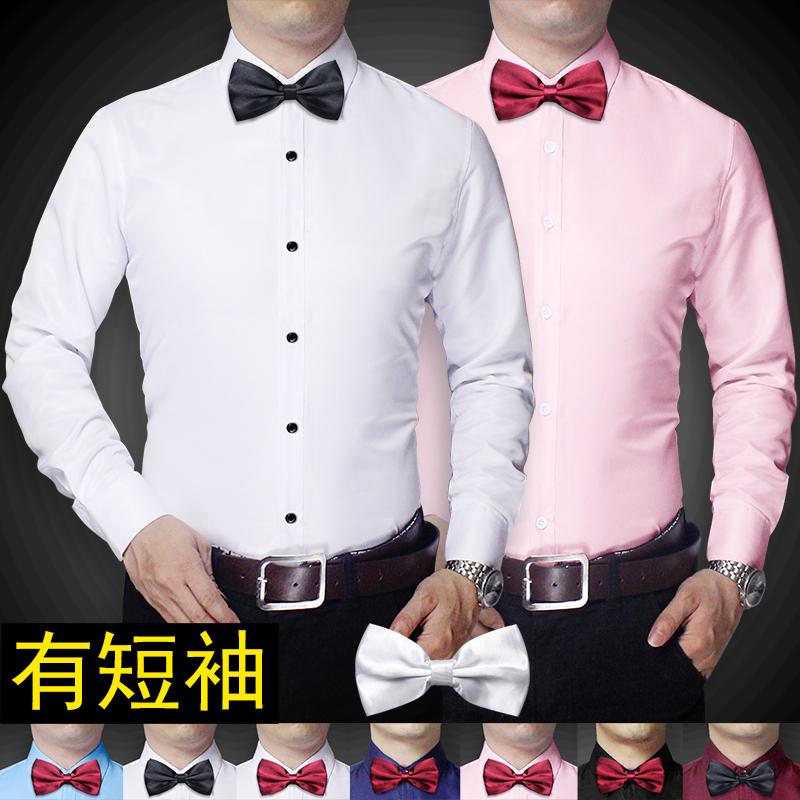 韓版男士修身長袖白色襯衫新郎結婚伴郎兄弟團t結婚禮服短寸衣潮