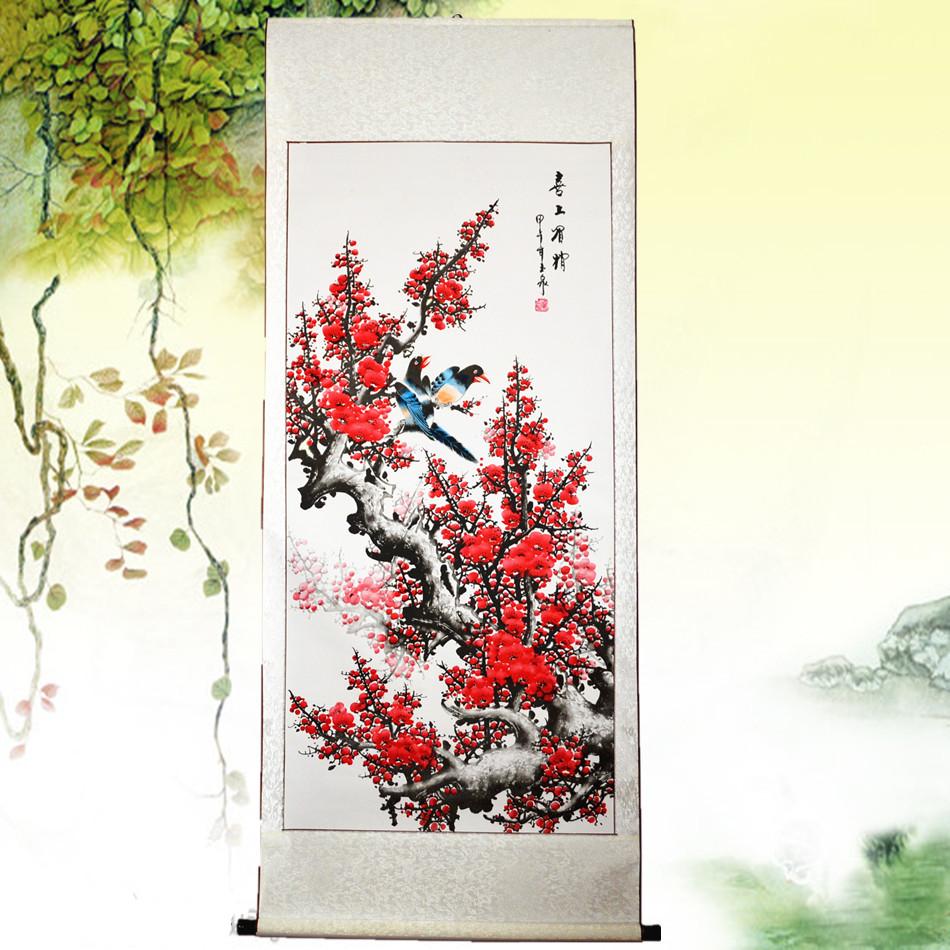 Традиционная китайская живопись цветка сливы птица живопись слива открыто пять слово живопись гостиная декоративный живопись четыре правитель статья ширина объем ось обрамленный доставка по всей стране включена