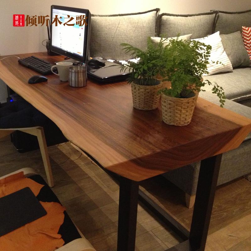 實木大板辦公桌簡約奧坎黃花梨大板紅木 老板桌椅巴花 茶台