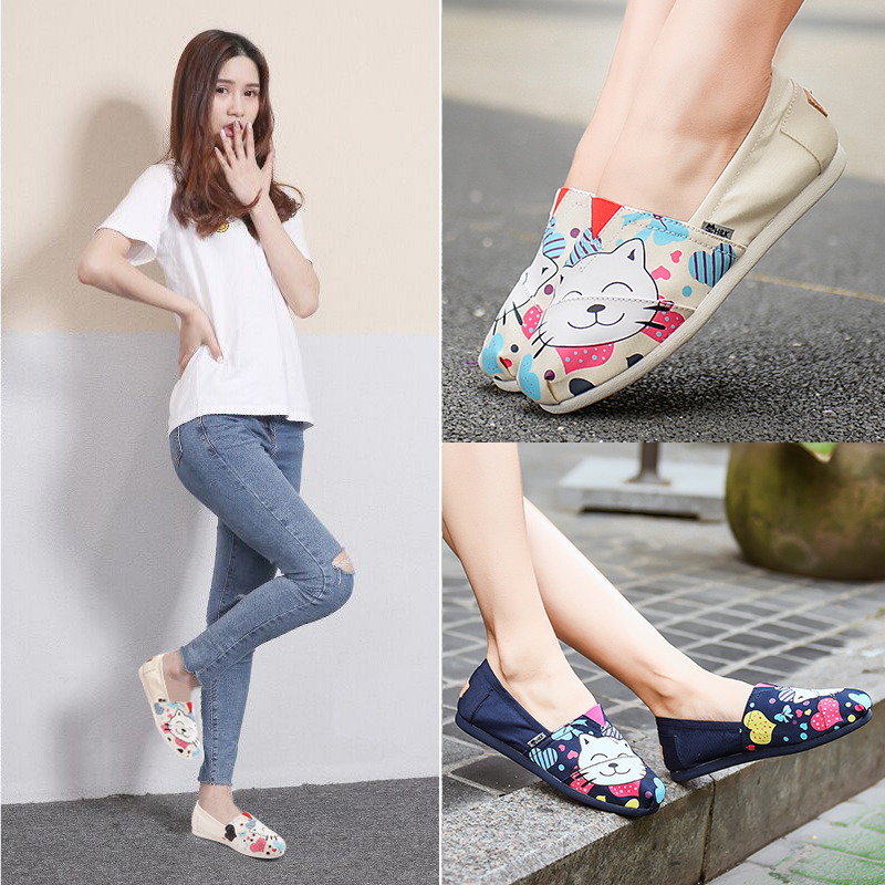 Spring and autumn Korean canvas shoes women flat shoes women lazy shoes casual pregnant women shallow mouth Mary shoes children