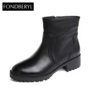 Fondberyl/feibolier 2015 winter leather with zipper ankle boots in women's shoes FB54114037