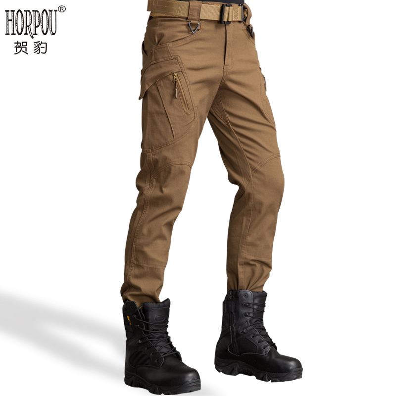 贺豹IX7/9战术长裤男军裤休闲裤修身军装军迷登山多口袋工装裤