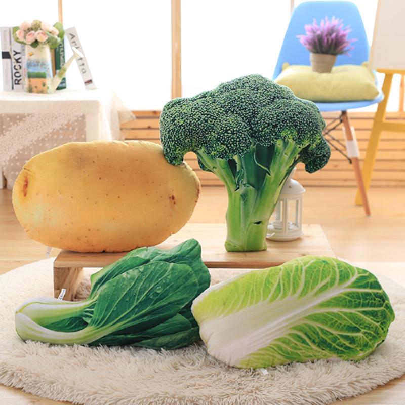 創意模擬蔬菜大白菜抱枕3D毛絨趴睡枕食物辦公室午休棉靠背腰靠墊