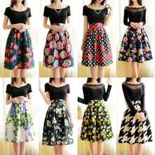 Summer and the ladies' printed restoring ancient ways of tall waist cotton and linen skirts Design and color is pleated skirt fashion umbrella long skirt of bitter fleabane bitter fleabane a word