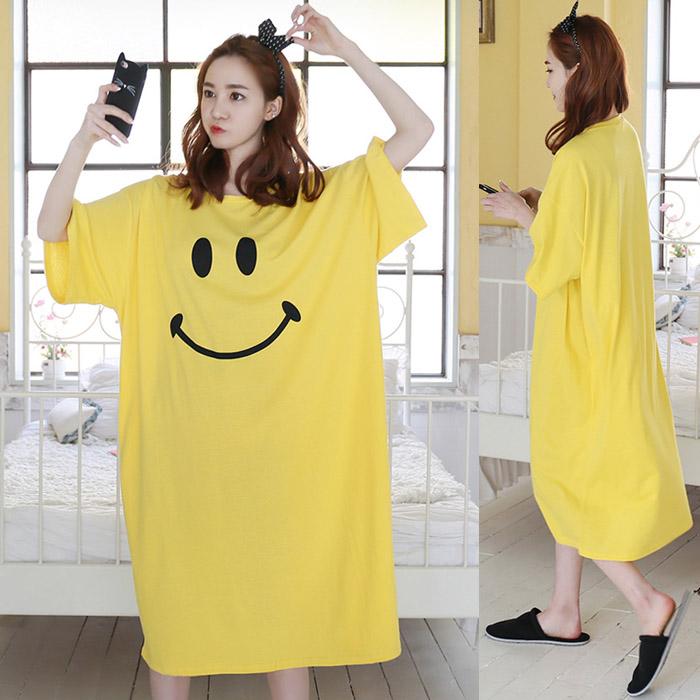 夏季韩版大码宽松显瘦长款短袖睡裙女连衣裙过膝黄色休闲纯棉长裙