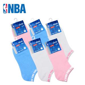 NBA春夏薄款隐形船袜 女士精梳棉无骨缝头休闲浅口女袜6双装
