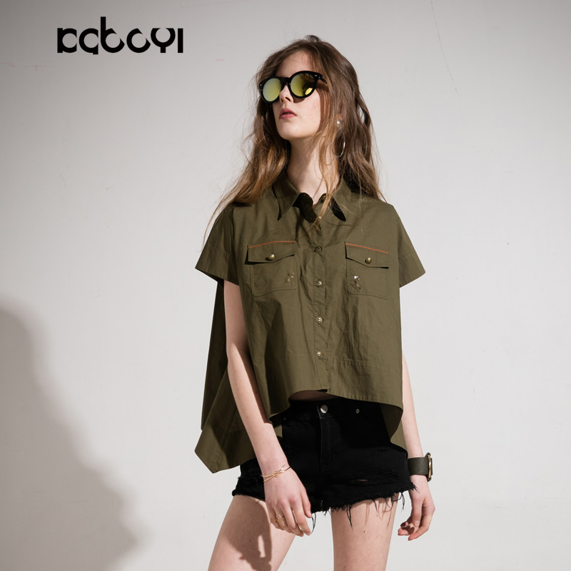 卡布依限量版原创品牌女装同步款夏季新品军绿欧美短袖衬衫女