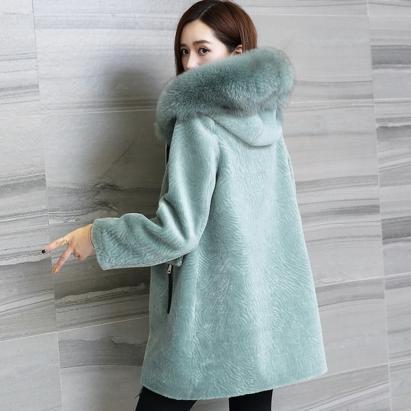 Ai Lainuo sheep shearing fur coat Girls long paragraph hooded wool coat fox fur collar Haining special one