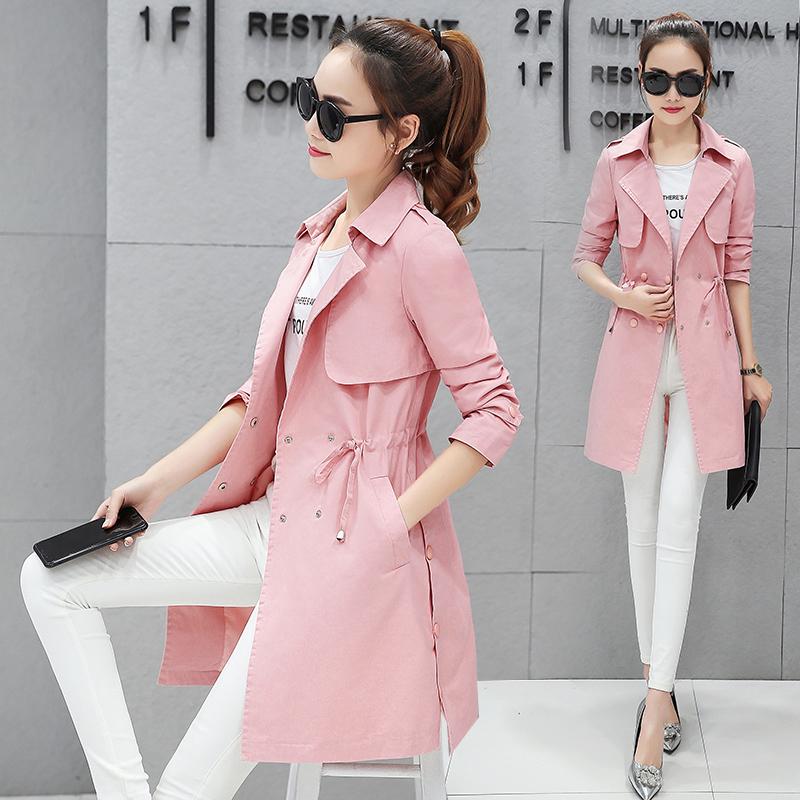 风衣女装2018春秋季新款韩版中长款长袖外衣收腰时尚修身百搭外套