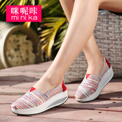 Microphone clicking fall 2015 Korea canvas shoes women's thick cake shake shoes women students lazy sets foot shoes