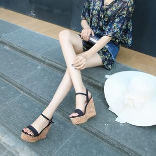 2021夏季新款性感超高跟坡跟女凉鞋真皮一字带防水台厚底露趾女鞋