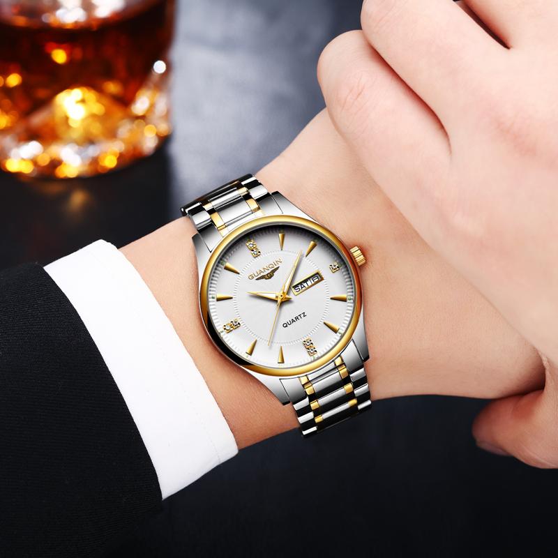 正品冠琴手表男石英表防水夜光日曆男表鋼帶簡約 超薄男士手表