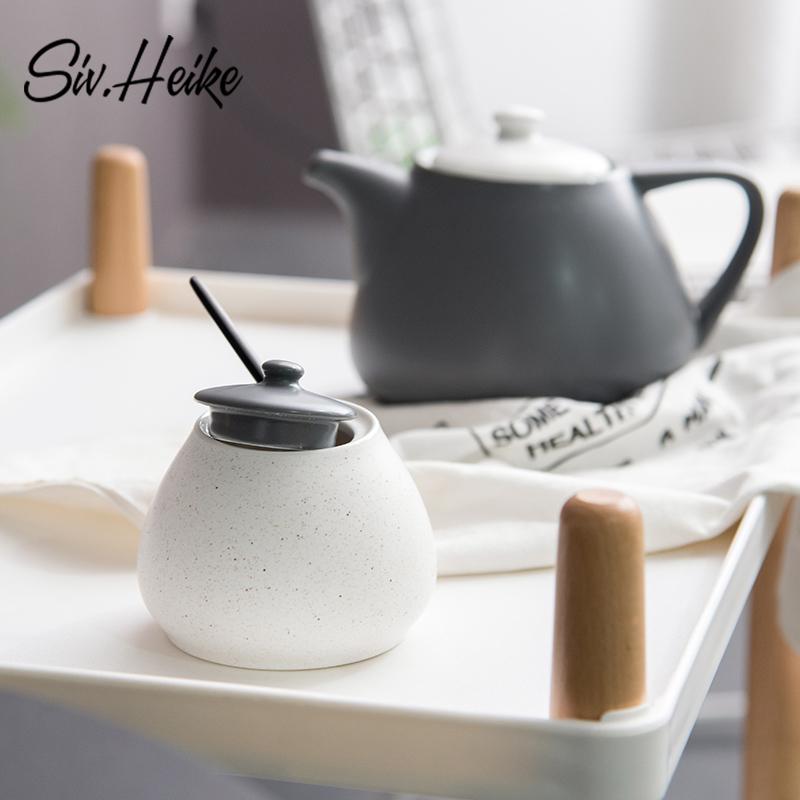Западный лотос роман форма творческий керамика крышка белый сахарный песок цилиндр британская кофе квадрат сахар бак приправа хранение банка