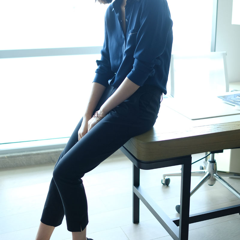 Элегантный очарование ! уютный петарда трещина дизайн черный прямой цилиндр костюм брюки женские ученый брюки случайный девять очков