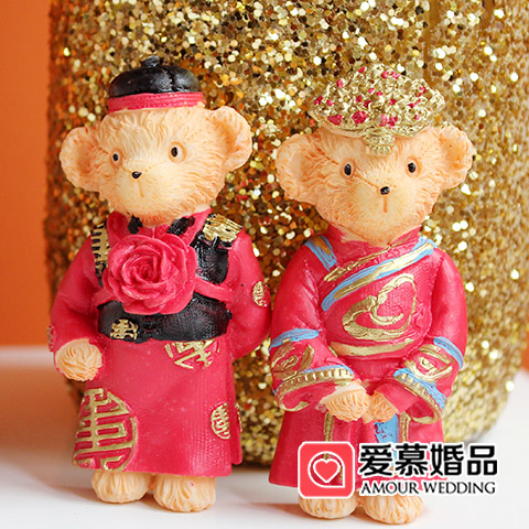 Marriage dress bear couple Teddy bear resin magnet decoration paste refrigerator sugar box accessories wedding gift birthday gift