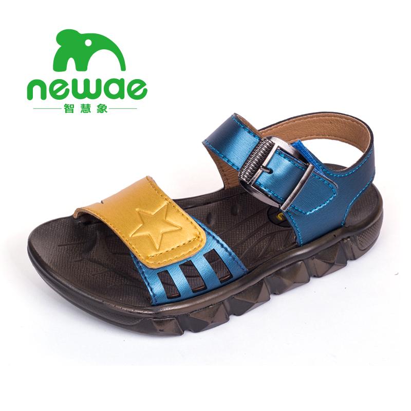 智慧象真皮兒童涼鞋男童鞋子寶寶 學生夏天大童2015 沙灘鞋