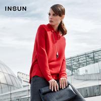 taobao agent INSUN恩裳100%羊毛套头毛织衫俏丽小翻领侧开叉设计毛衣95606983
