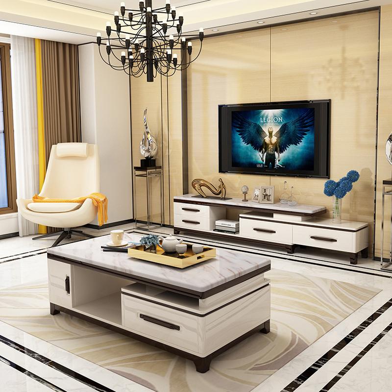 Честь сияющий мрамор телевизионный шкаф кофейный столик протяжение сочетание мебель установите современный простой гостиная полный мебель краски
