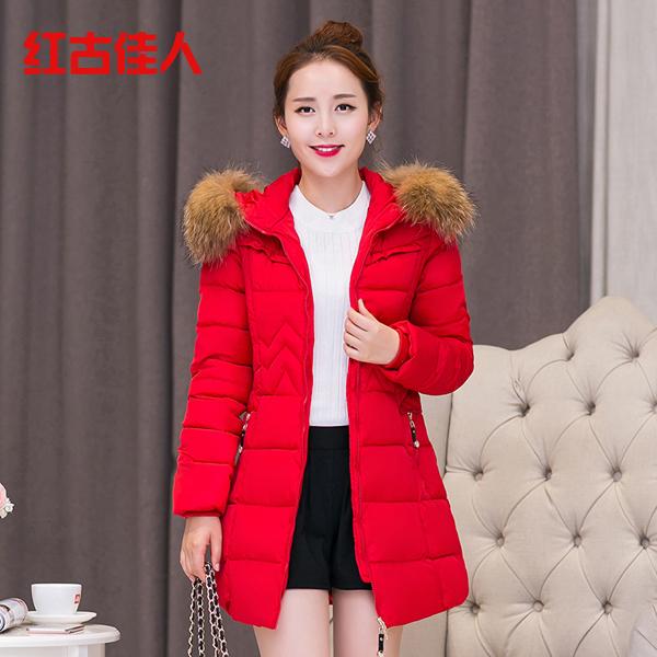 к 2015 году зимы новых корейских женщин тонкий похудения моды густой длинной шерсти воротник с капюшоном длинной шерсти пальто