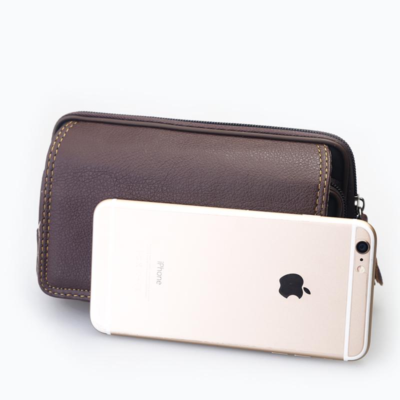 中老年男横款6.5寸特大手机腰包 穿皮带手机皮套仿皮挂包零钱包
