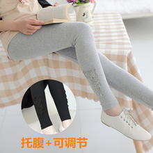 October mummy maternity qiu dong outfit South Korea fashion pregnant women render height abdominal pants pants show thin cotton nine points