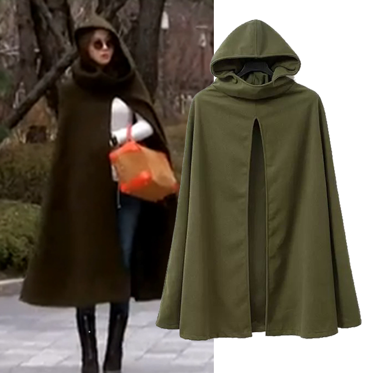 European and American medium and long woolen coat autumn and winter womens same military green woolen Cape overcoat