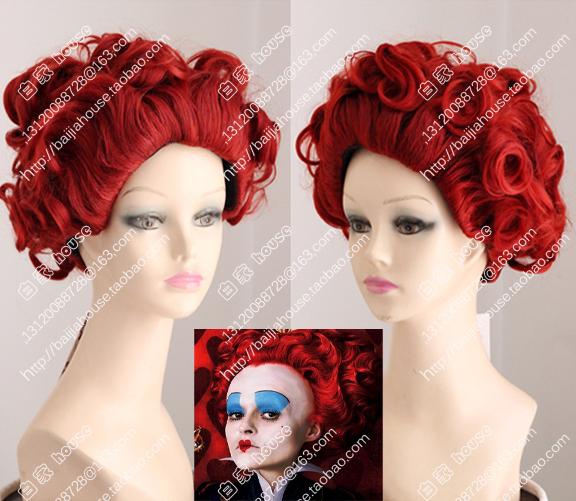 Косплей парик Алиса в стране чудес Красной Королевы, Красная Королева, Красная королева стиля