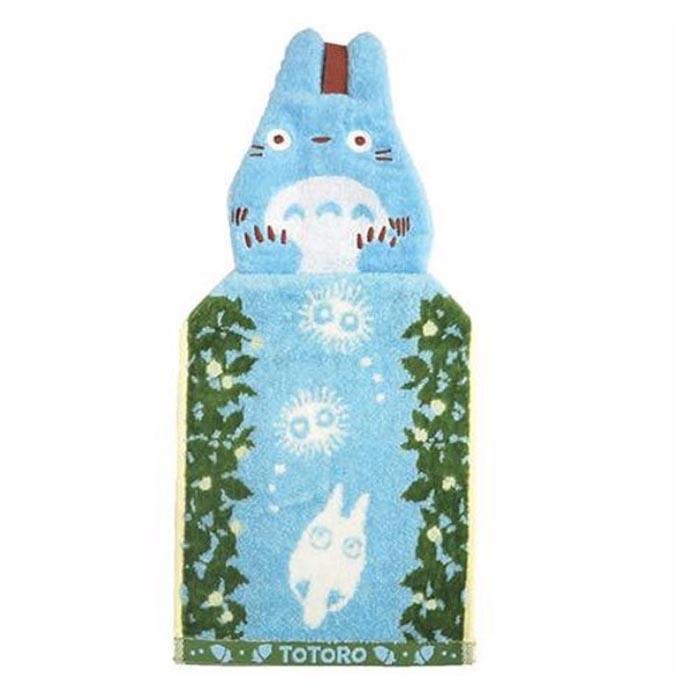 韩国TOTORO龙猫 居家浴室双面挂式蓝色毛巾 面巾 12.178